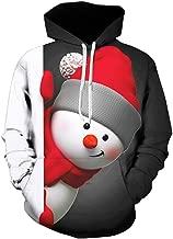 Mens Christmas 3D Printed Snowman Pullover Long Sleeve Hooded Sweatshirt Tops