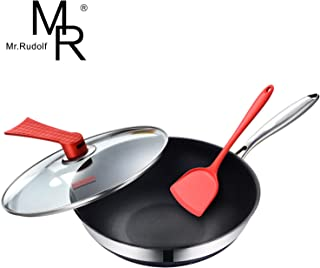 Mr Rudolf 18/10 Stainless Steel Nonstick Stir Fry Pan with Glass Lid & Bonus Silicone Spatulas 12-inch Multi-Ply Wok Dishwasher Safe Oven Safe