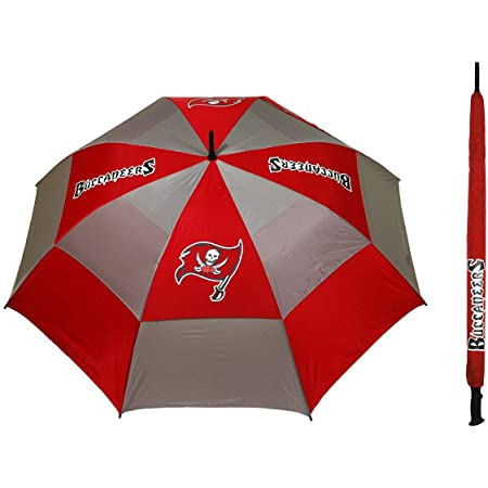"""Team Golf NFL Tampa Bay Buccaneers 62"""" Golf Umbrella with Protective Sheath, Double Canopy Wind Protection Design, Auto Open Button"""