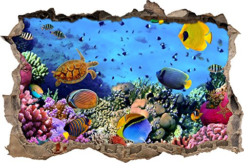 Pixxprint 3D_WD_S2562_92x62 wundervolle Fische im Korallenriff Wanddurchbruch 3D Wandtattoo, Vinyl, bunt, 92 x 62 x 0,02 cm