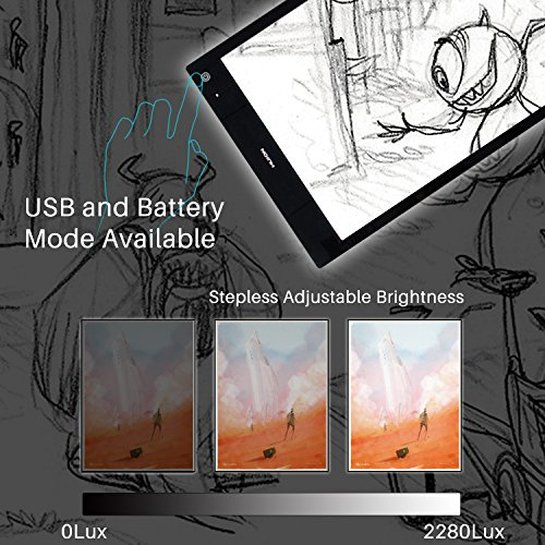 HUION  LB4 8MM thick LED Adjustable Illumination Light Box with USB Mode and Battery Mode