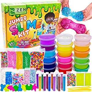 DIY Slime Kit Toy for Kids Girls Boys Ages 5-12, Glow in The Dark Glitter Slime Making Kit – Slime Supplies w/ Foam…