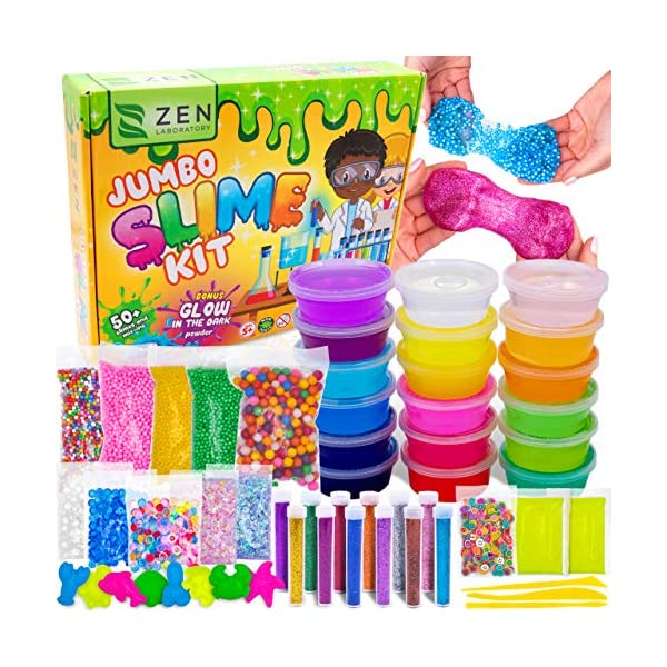 DIY Slime Kit Toy for Kids Girls Boys Ages 5-12, Glow in The Dark Glitter Slime Making Kit - Slime Supplies w/ Foam… 3