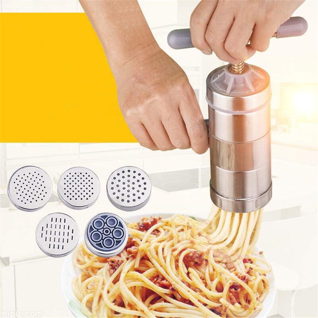#1 HoJoor M/áquina para Hacer Pasta Fresca Prensador Acero Inoxidable Noodle Maker Vegetal Pur/é de Papas Fruta Exprimidor Prensa Fideos de M/áquina Herramienta de Cocina 5 x Molde
