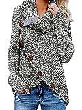 Yidarton Pullover Damen Warm Asymmetrische Strickpullover Rollkragenpullover Solid Wrap Gestrickt Langarmshirts Oberteile Causal (B-Grau, L)