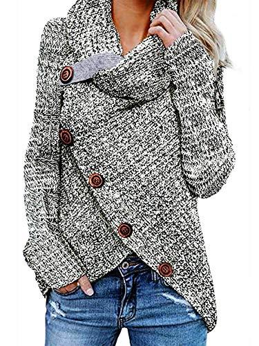 Yidarton Pullover Damen Warm Asymmetrische Strickpullover Rollkragenpullover Solid Wrap Gestrickt Langarmshirts Oberteile Causal (B-Grau, S)