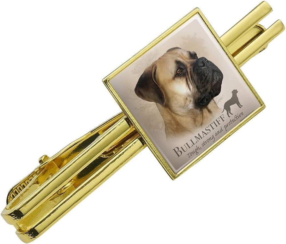 Graphics and More Bullmastiff Dog Breed Square Tie Bar Clip Clasp Tack Gold Color