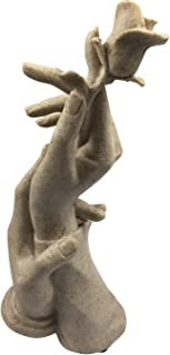 KOOMAGIC Rose Hand in Hand Couple Statue Sculpture The Lovers Abstract Crafts Sandstone Handmade Figurine Knick-knack Home Bedroom Living Room Study Room Studio Decorations,Perfect Wedding