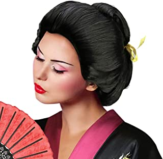 Deluxe Women's Asian Japanese Geisha Wig Short Bob Wigs Costume Accessory Halloween Cosplay Party Hairpiece