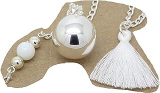 Bola de Grossesse Argent Plaqué Bola Lisse Personnalisable Descente de Perles et Pompon F de Bm créations cadeau future maman