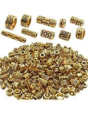 BronaGrand 100 جرام (حوالي 220-300 قطعة) خرز على شكل عمود ذهبي عتيق خرزات سوار ساحرة قلائد مجوهرات إكسسوارات للأساور والعقد لصنع المجوهرات