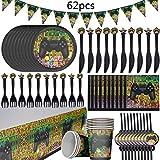 BESLIME Gaming Party Set, Enthält Tassen, Teller, Strohhalme, Papier, Messer, Gabeln, Tischdecken, Fahne Ziehen, Kindergeburtstag, Party Deko -62PCS