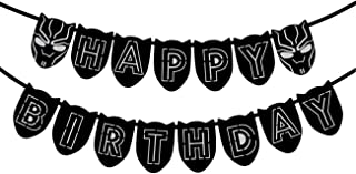 Black Panther Theme Happy Birthday Banner Party Supplies For Kids and Adults Birthday Party Decorations