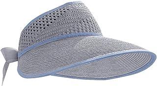 Cappello di paglia da donna Cappello pieghevole con visiera parasole Cappello da spiaggia aperto a tesa lunga regolabile C...