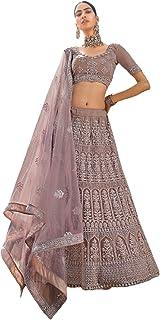 الزفاف الهندي تصميم MAUVE شبكة الترتر & خيط التطريز lehenga Ghagra Choli Dupatta 6032 2