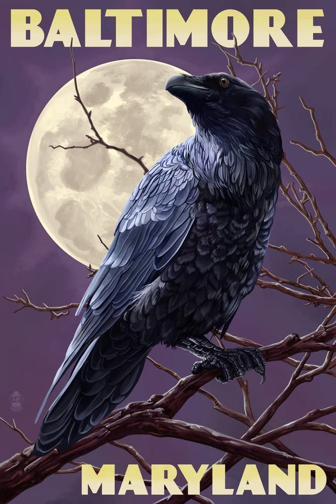 Baltimore Maryland - Raven and Moon supreme Giclee 36x54 Cheap super special price Sky Ga Purple