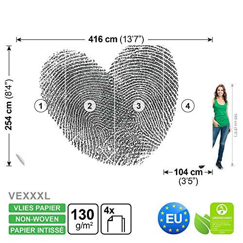 Herz Fingerabdruck FOTOTAPETE FOTOTAPETEN WANDBILD