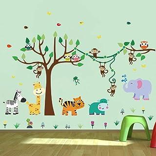 comprar comparacion decalmile Pegatinas de Pared Infantiles Animales Árbol Vinilos Decorativos Mono Jirafa Elefante Adhesivos Pared Habitación...