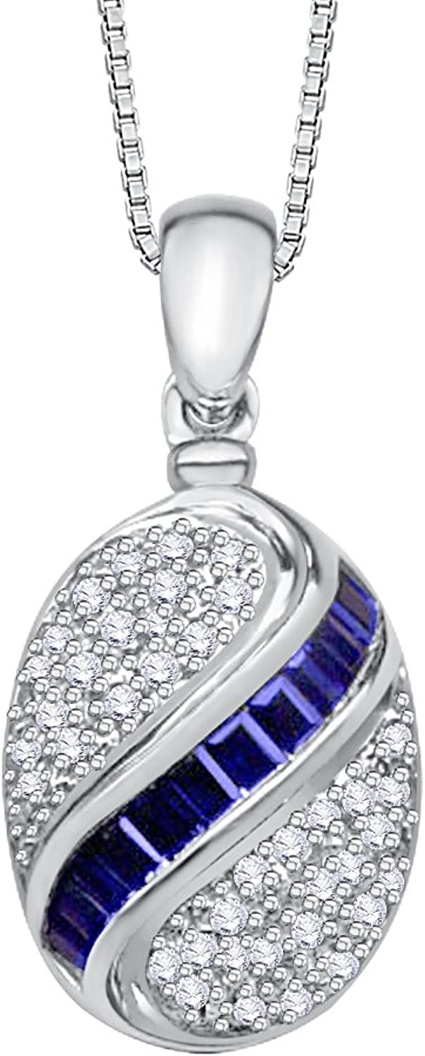 Diamond and Baguette Cut Sapphire Fashion Pendant with Chain in gold (1 1 6 cttw) (GHcolor I1 Clarity)