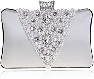 Ladies New Beaded Evening Dress Clutch Pearl Crystal Rhinestone Evening Clutch Bag Bridal Banquet Phone Bag Beige/Black/Purple/Red/Silver. jszzz (Color : Silver)