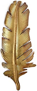 TAQUA Metal Wall Art Sculpture, Wall-Mounted Golden Feather Embossed Pendant, Suitable for Indoor and Outdoor Wall Decoration, Free Hanging 3 Size Optional (Size : 65cm)