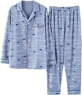 [ファイン?ショップ]パジャマ メンズ 春秋 上下セット 前開き 綿 長袖 長ズボン シャツ風 シンプル 柔らか 肌触り良い 部屋着 快適 カジュアル ギフト ネグリジェ 寝間着 ルームウェア ナイトウェア 男性用 L/XL/XXL/XXXL