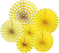 Zilue Hanging Yellow Paper Fans Decoration Kit Round Paper Garlands Wedding Birthday Party Baby Showers Events Accessories Set of 6