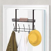 Over The Door Hook Hanger with Mesh Basket, Bathroom Towel Hanging Racks, Dark Brown