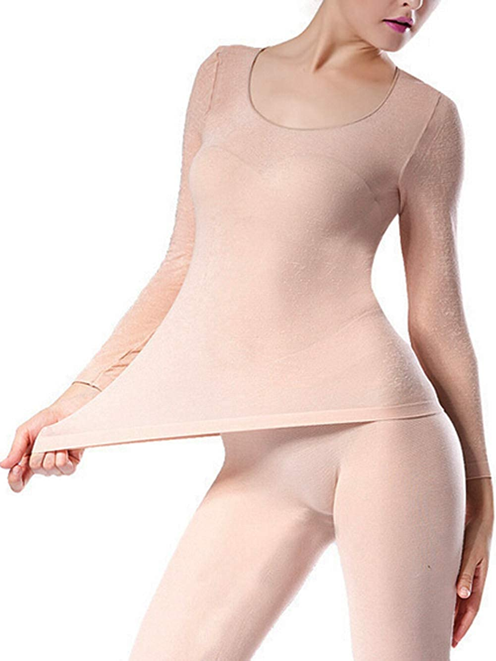 Seamless Scoop Neck Super Thin Thermal Base Layer Set Top and Bottom