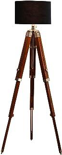 Nautical Grand trépied pour lampadaire en bois Marron Hauteur totale 183 cm