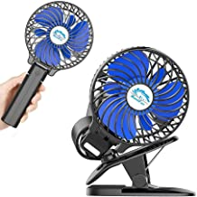 HandFan Battery Operated Clip on Fan, 3 in 1 Clip & Handheld & Desktop Fan Rechargeable Portable Stroller Fan USB Powered Personal Handheld Fan 360°Rotation for Bedroom Baby Stroller Office Home Black