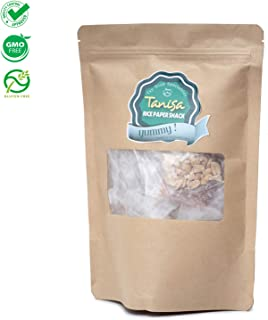 Rice paper snacks from TANISA, ingredients to mix rice papers salad, DIY mixture of rice paper fibers with seasonings - Vietnamese famous street food, NON-GMO, Gluten-free (Brown paper pack, 80gr)