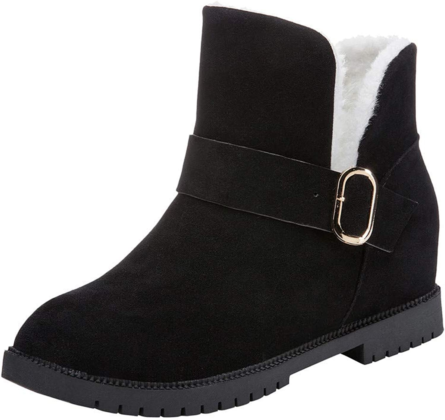 GouuoHi Womens Boots Women Wedges shoes Snow Boots Suede Buckle Boots Round Toe Keep Warm shoes Fashion Cosy Wild Casual Quality Super Elegant Leisure for Womens
