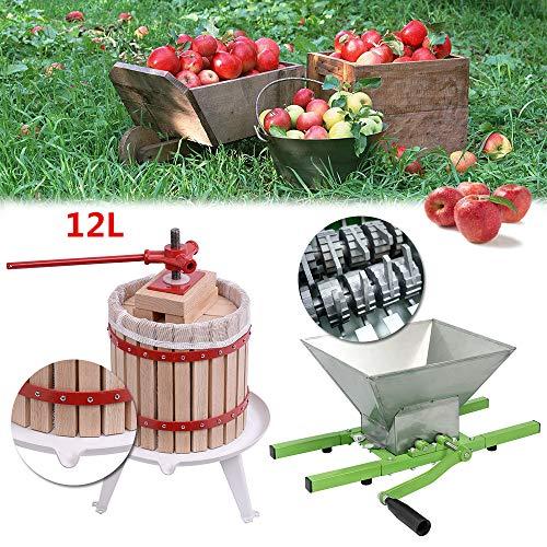 UISEBRT 7L Obstmühle Traubenmühle Apfelpresse & 12L Obstpresse Weinpresse Saftpresse Mechanisch mit Pressentuch