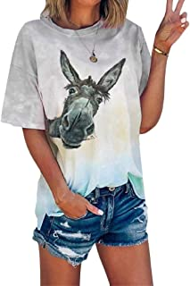 HEFASDM Womens Short-Sleeve All Over Tie-Dye Casual Cute T-Shirt Pullover Tunic Tops