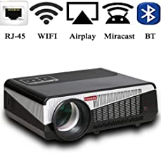 Gzunelic 6500 lumens Android WiFi 1080p Video Projector LCD LED Full HD Theater Proyector with Bluetooth Wireless Synchronize to Smart Phone by Airplay or Miracast Ideal for Home Entertainment