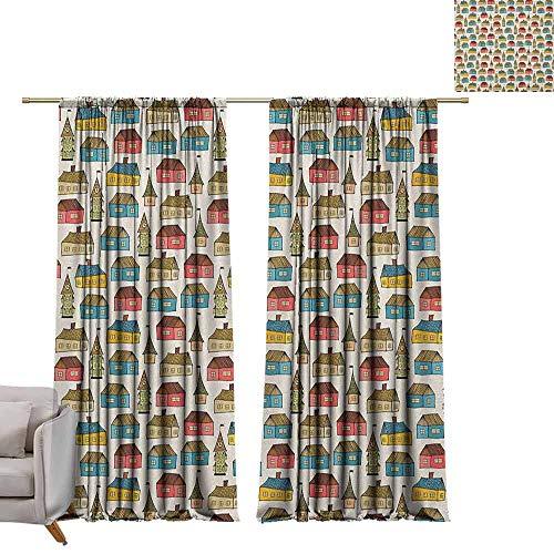 Waterdichte venster gordijn verduisteringsgordijnen voor slaapkamer Nederlands, Doodle Stijl Kleurrijke stad Illustratie Cartoon City Design Urban Architecture Thema Multi kleuren