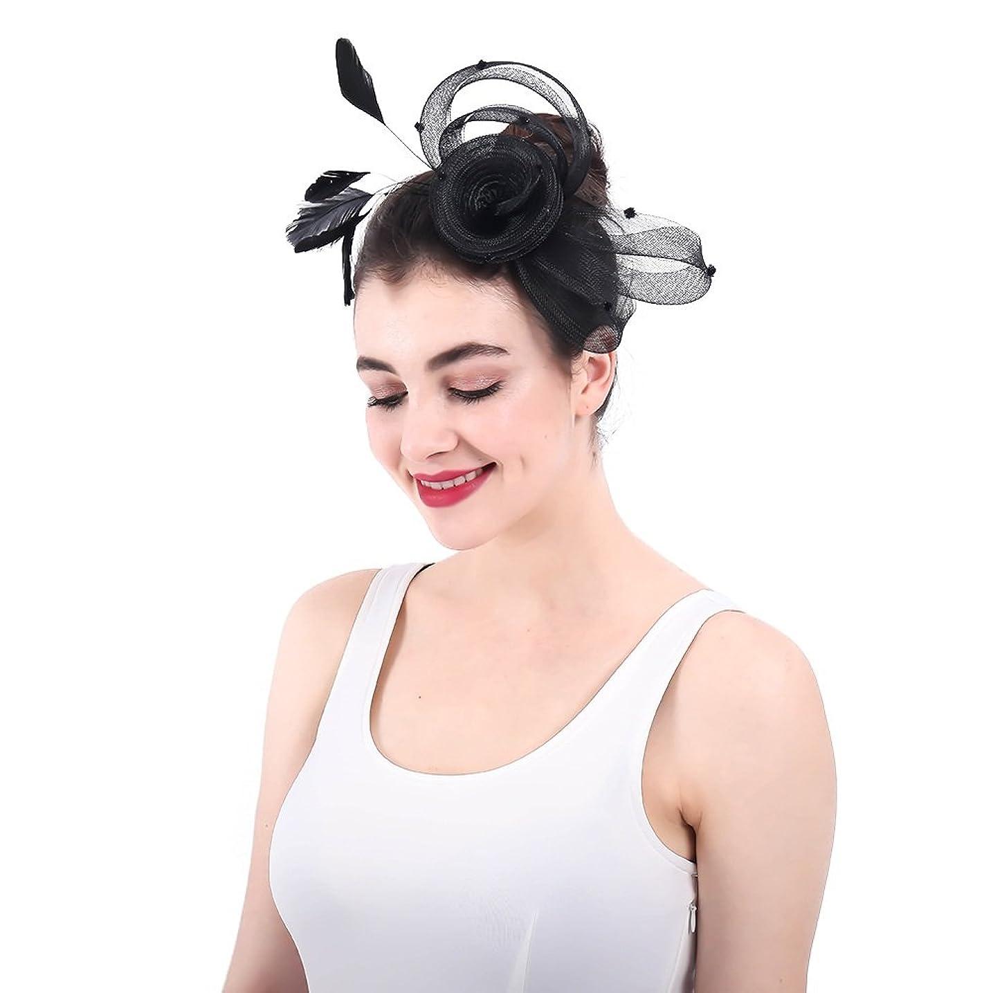 最近ファブリック同種の女性の魅力的な帽子 女性ライトシナマイ魅力的なヘアクリップアクセサリーウェディングカクテルティーパーティー