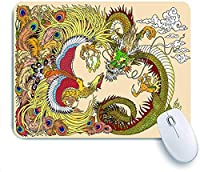 Mabby ゲームオフィスのマウスパッド,Chinese dragon and phoenix feng huang playing with a pearl ball,Non-Slip Rubber Base Mousepad for Laptop Computer PC Office,Cute Design Desk Accessories