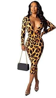 BALABA◕。Women's Deep V Leopard Bodycon Dress Long Sleeve Casual Fashion Print Sexy Midi Dress Evening Party Club Dress