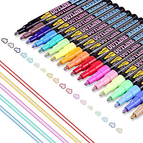 Supersun 18 Farben Outline Stifte, Magische Stifte Double Line Zweifarbig Wasserfester Stifte für Geschenkkarten, Fotoalbum zum Selbstgestalten, DIY Karte Gästebuch, Grußkarten, Graffiti