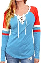 Aniywn Ladies Thin Pullover Tops T-Shirt Women's Casual Lace Up Color Block Long Sleeve Patchwork Hoodies