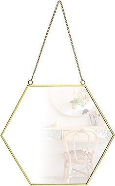 SING F LTD Middle Size Hanging Wall Mirror Hexagonal Decor Brass Frames Home Bathroom Bedroom Living Room Entryway Modern Vin