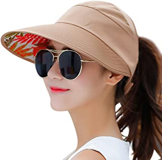 HINDAWI Sun Hats for Women Wide Brim UV Protection Sun Hat Summer Beach Packable Visor