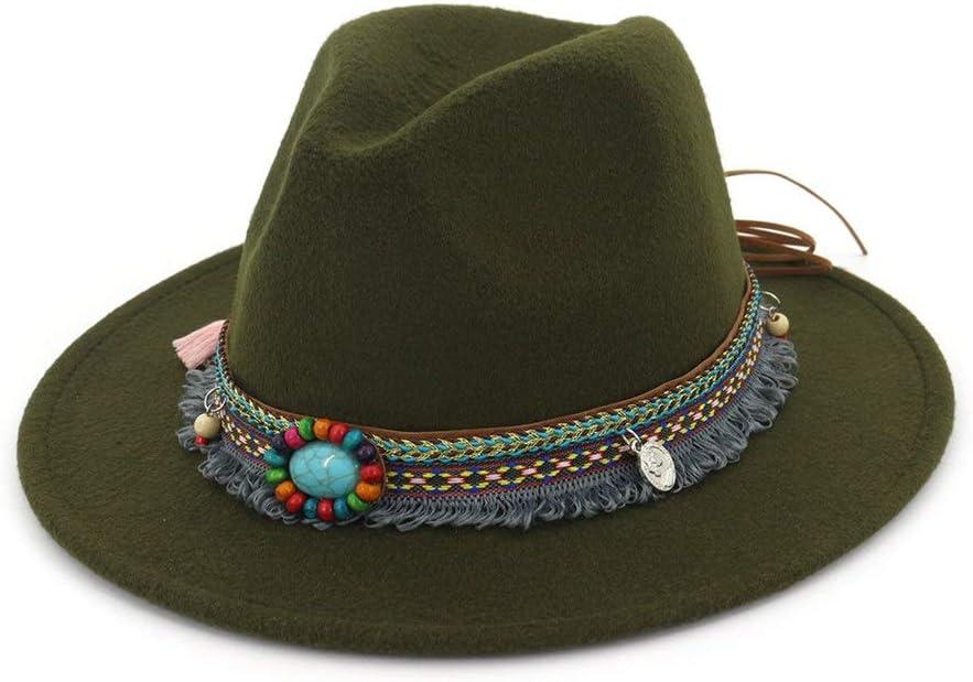 no-branded Cotton Sun Hat Fedora Hat Ladies Felt Hat Men Church Party with Elegant Panama Hat Tassels Autumn Winter ZRZZUS (Color : Dark Green, Size : 56-58cm)