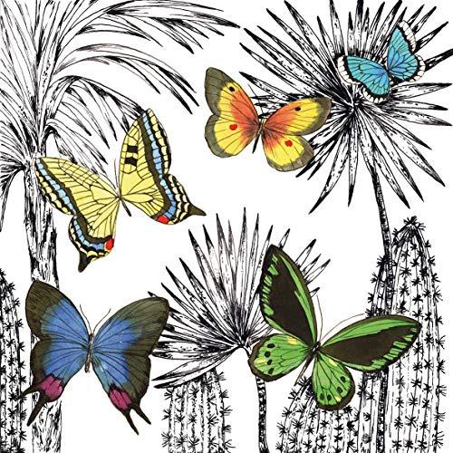 Home Collection Maison Cuisine Décoration Accessoires Set 40 Serviettes de Table Papier Jetable 3 Voiles 33 x 33 cm Motif Papillons Multicolores Désert