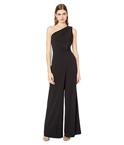 Halston Asymmetric Draped Jumpsuit (Black) Women