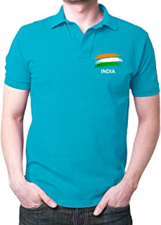 Men's India Flag Polo T-Shirt TurquoIS2e Blue Indian Army air Force t-Shirt