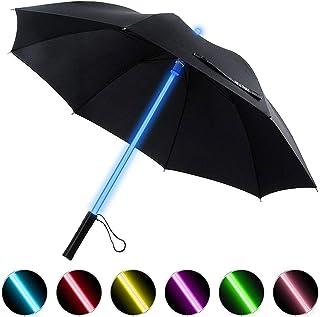 BESTKEE Lightsaber Umbrella LED Laser Sword Light up Golf Umbrellas 7 Color Changing On The Shaft/Built in Torch at Bottom