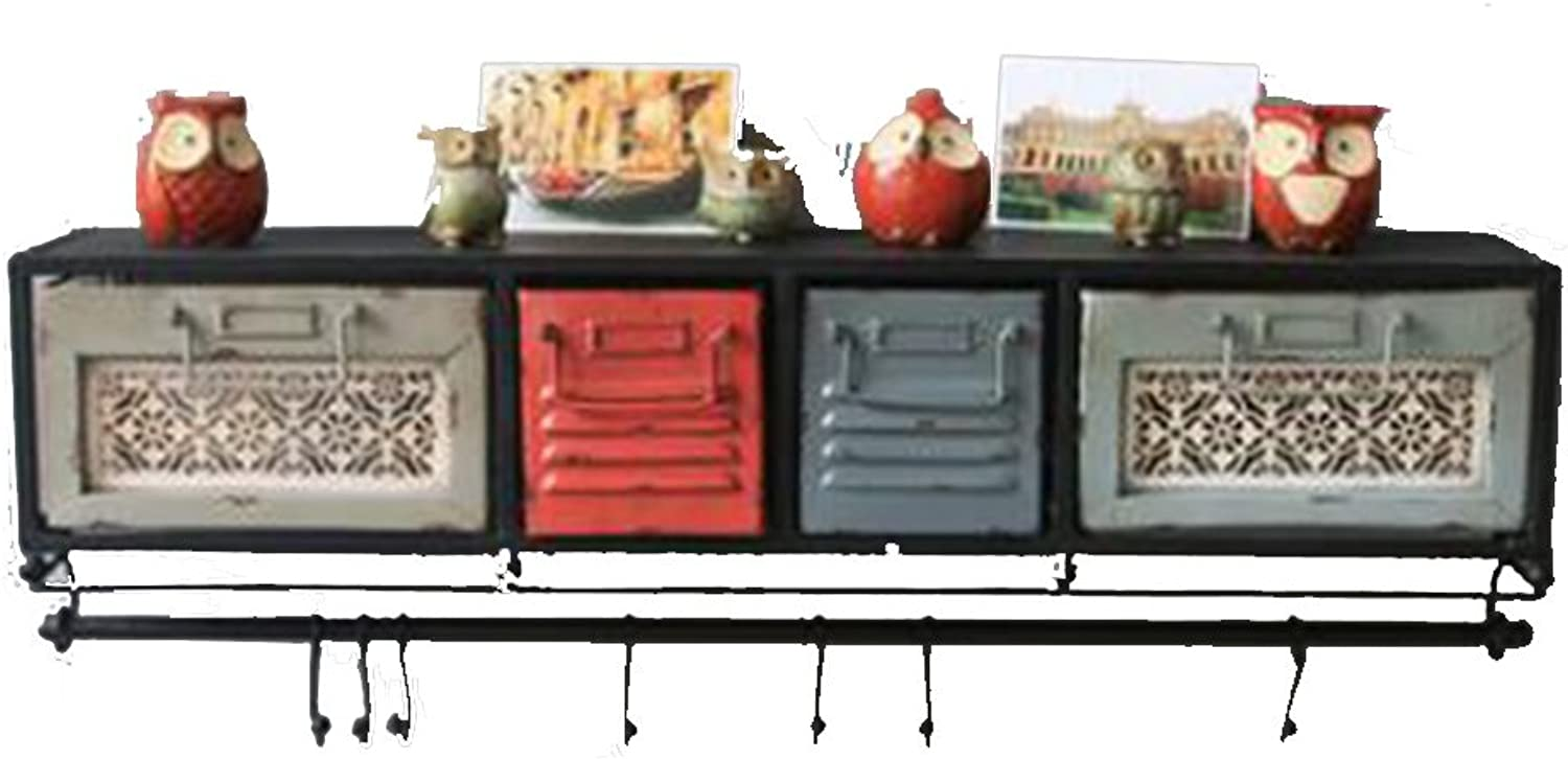 Xiaolin Retro Clapboard Shelf US-Style Village Wall Decoration Storage Racks Wall-Mounted Clothes Rack Hat Holder 77  17  21.5cm